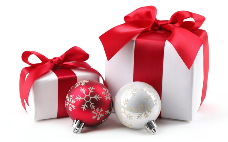imagescom: cadeaux boules blanc rouge